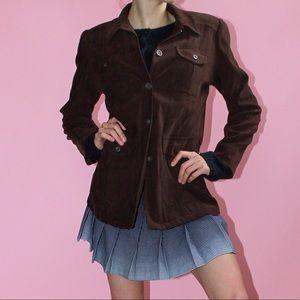 Vtg Brown Soft Button Front Utility Jacket